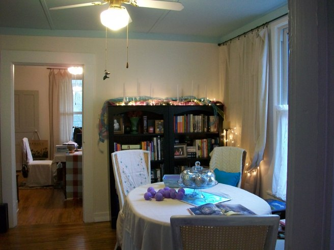 The view after we officially moved into the house in June of 2012 (this picture was taken at Christmas 2012) - the bookshelves were not intended for this room originally, but they had to go somewhere when we gave up our apartment in Louisville.