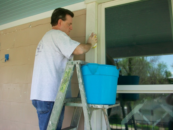 We also cleaned and scraped the porch wall and trim so we could paint.
