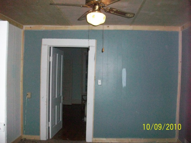 This is sort of a before - the ceiling had already been replaced and some paint. but the blue was original and the original ceiling was popped and cracking in places.