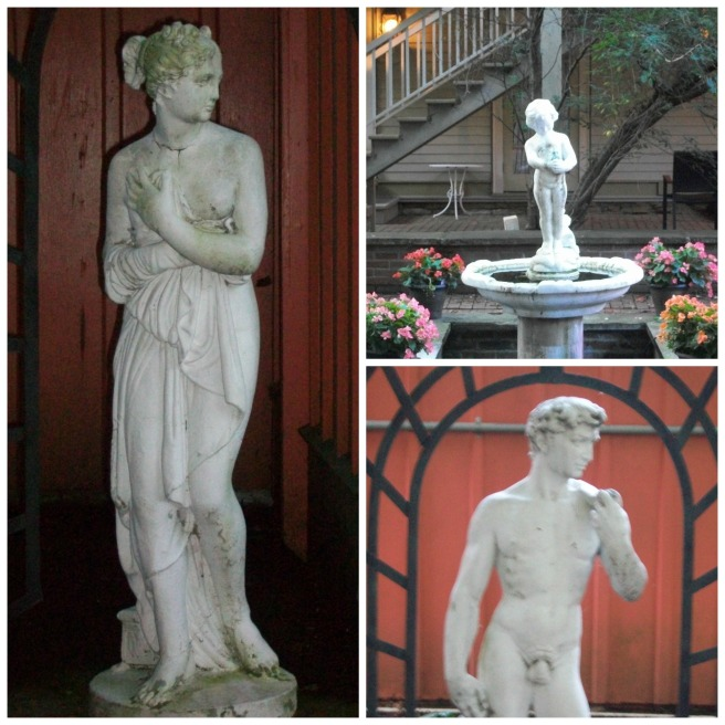 Statues in the courtyard garden.