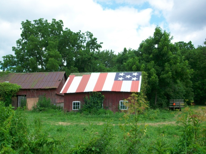 Small patriotic barn near Granville
