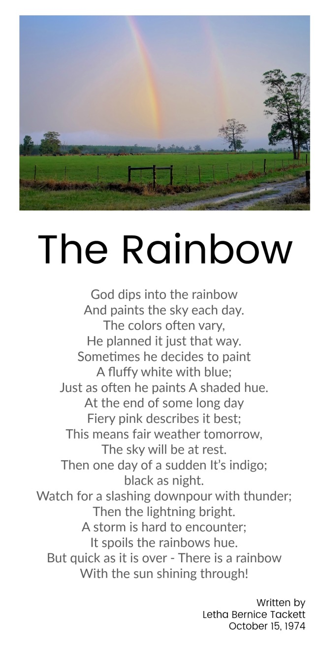 The Rainbow - Bernice Tackett. take 2. edited